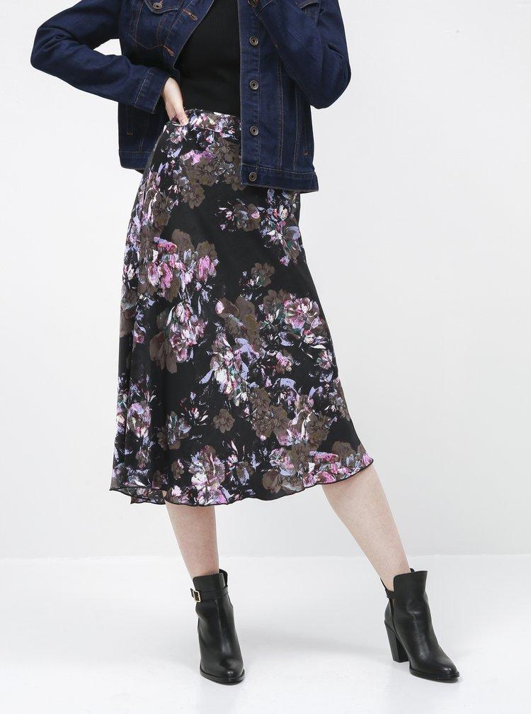 Čierna kvetovaná saténová midi sukňa VERO MODA Emilia