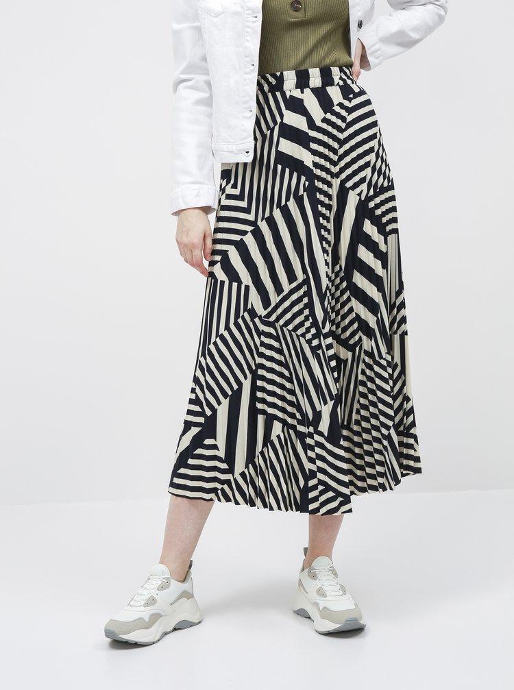 Modro-béžová vzorovaná plisovaná maxi sukně Selected Femme Alexis