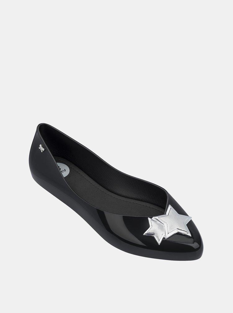 Černé lesklé baleríny s detaily ve stříbrné barvě Zaxy Chic