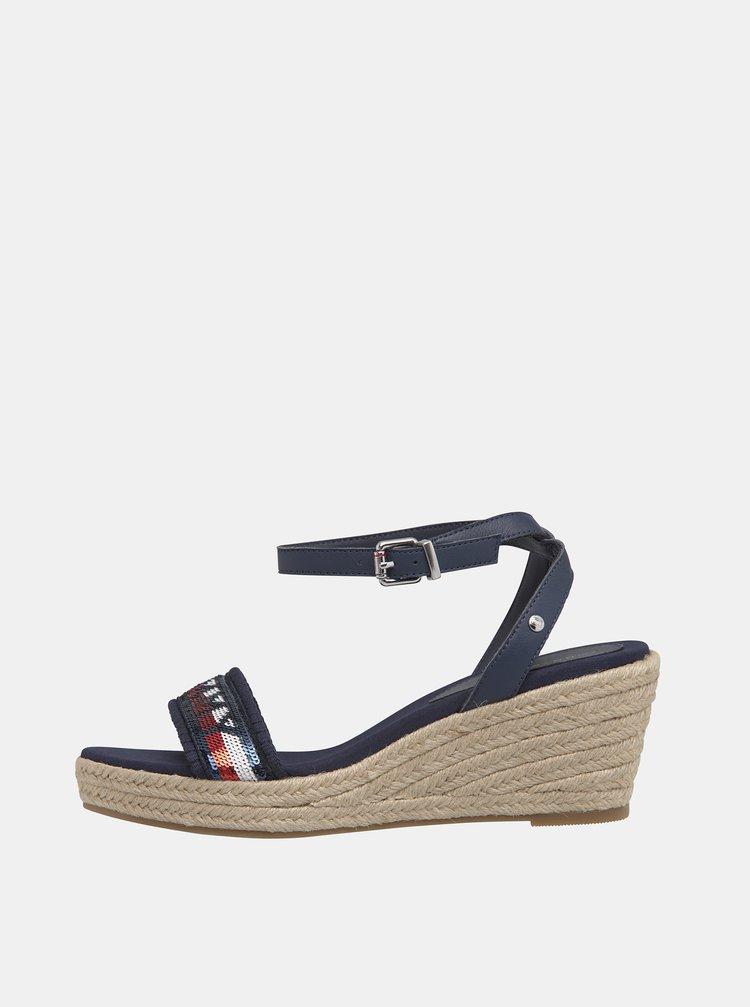 Tmavě modré dámské kožené sandálky Tommy Hilfiger