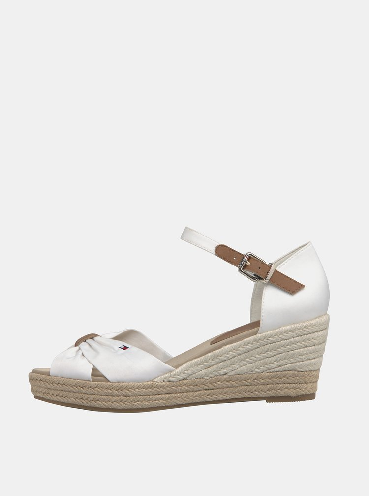 Bílé dámské sandálky na klínku Tommy Hilfiger