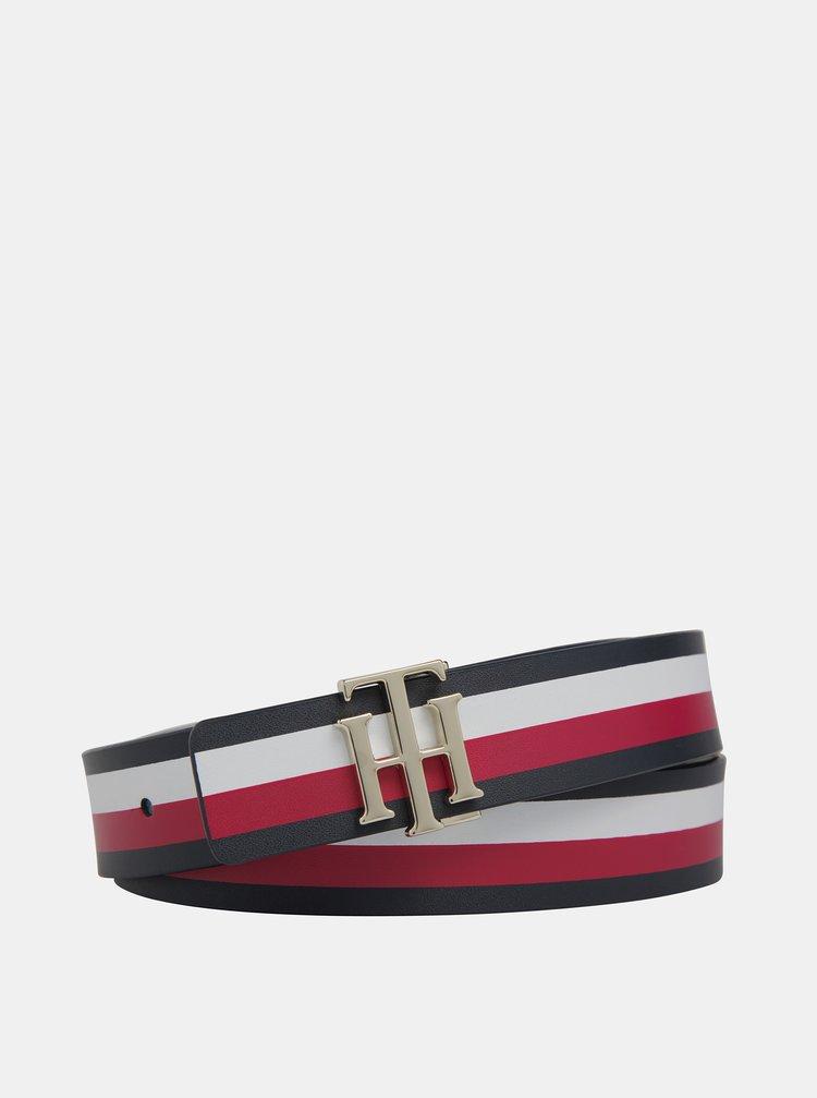 Bílo-červený dámský kožený pásek Tommy Hilfiger