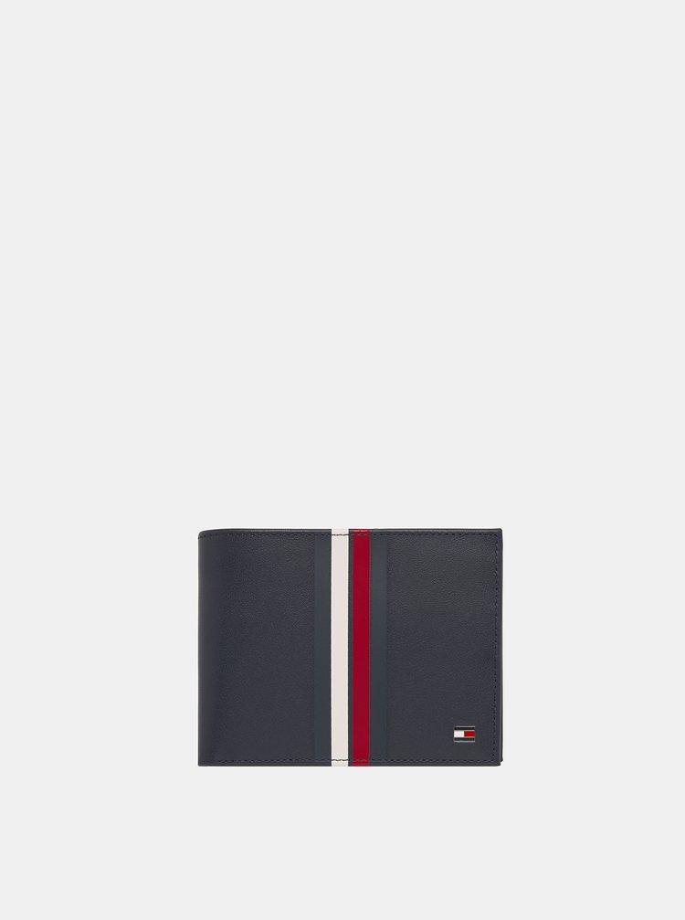 Tmavě modrá kožená peněženka Tommy Hilfiger