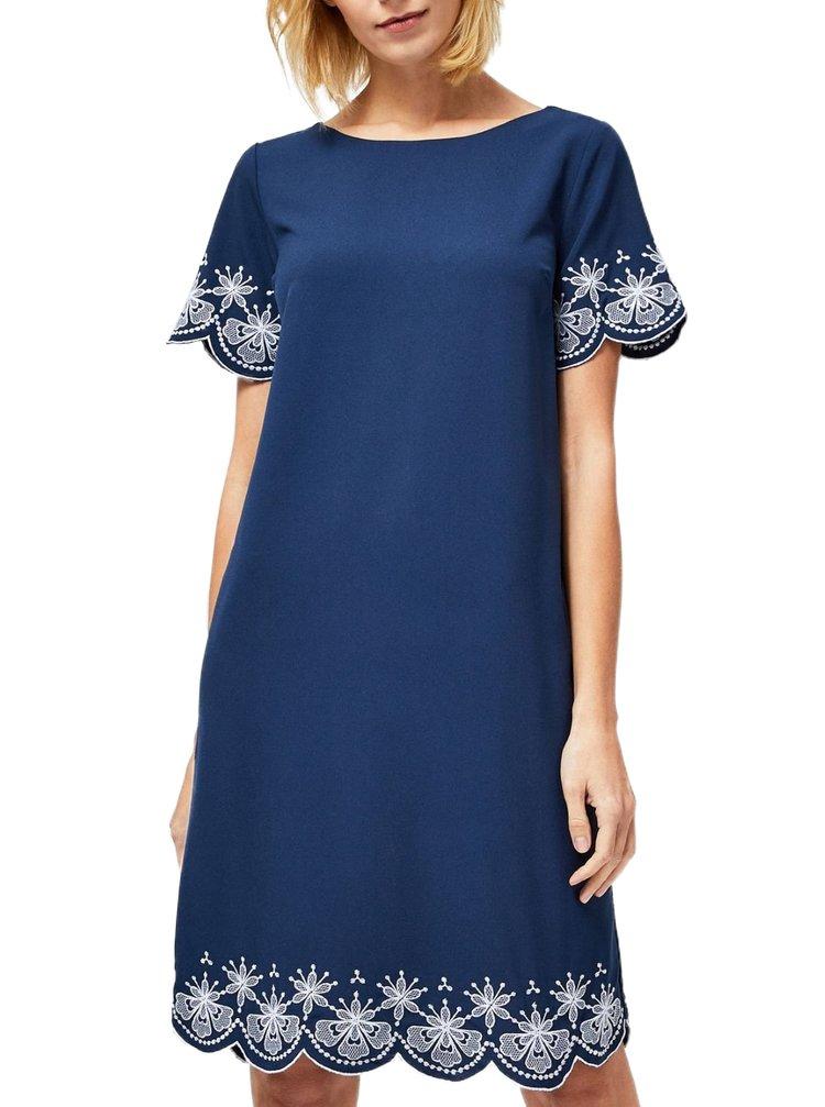 Moodo tmavě modré šaty s bílými výšivkami