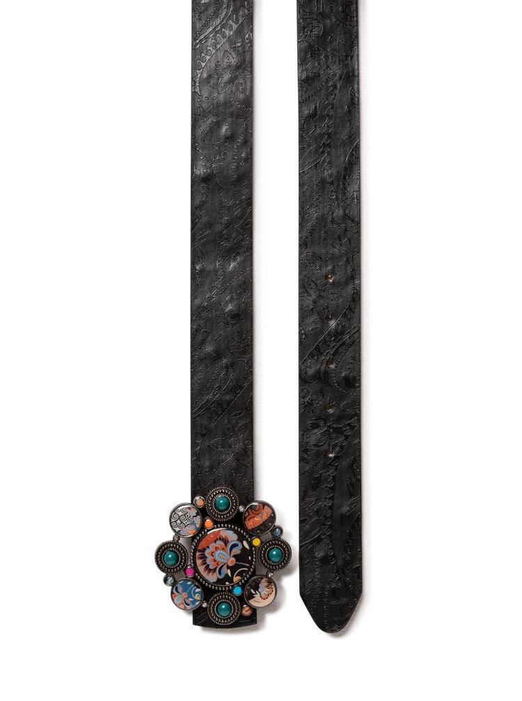 Desigual černý oboustranný pásek Belt Mandarinas Reversible