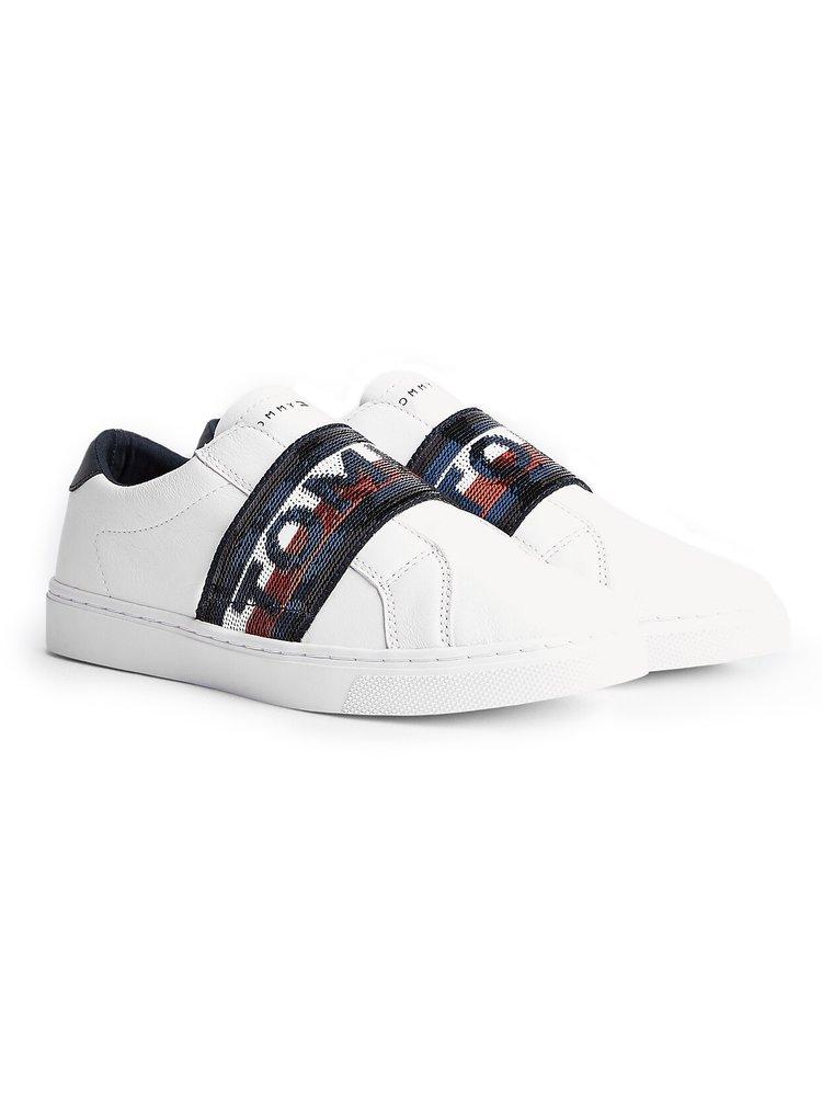 Tommy Hilfiger bílé kožené slip on tenisky Glitter Elastic Slip On Sneaker