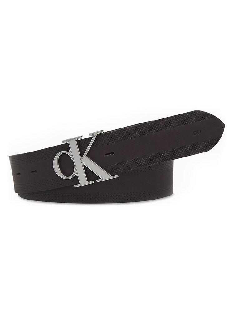 Calvin Klein hnědý pánský kožený pásek CKJ GymClass Monogram s logem