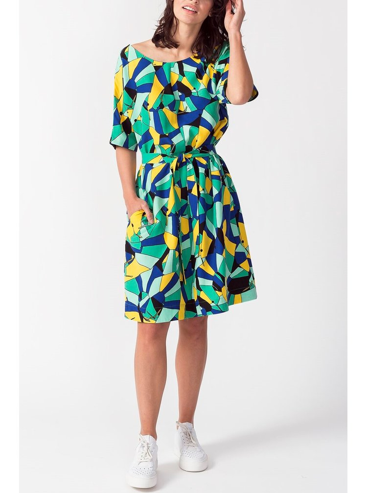 SkunkFunk barevné oversize šaty Izarbe