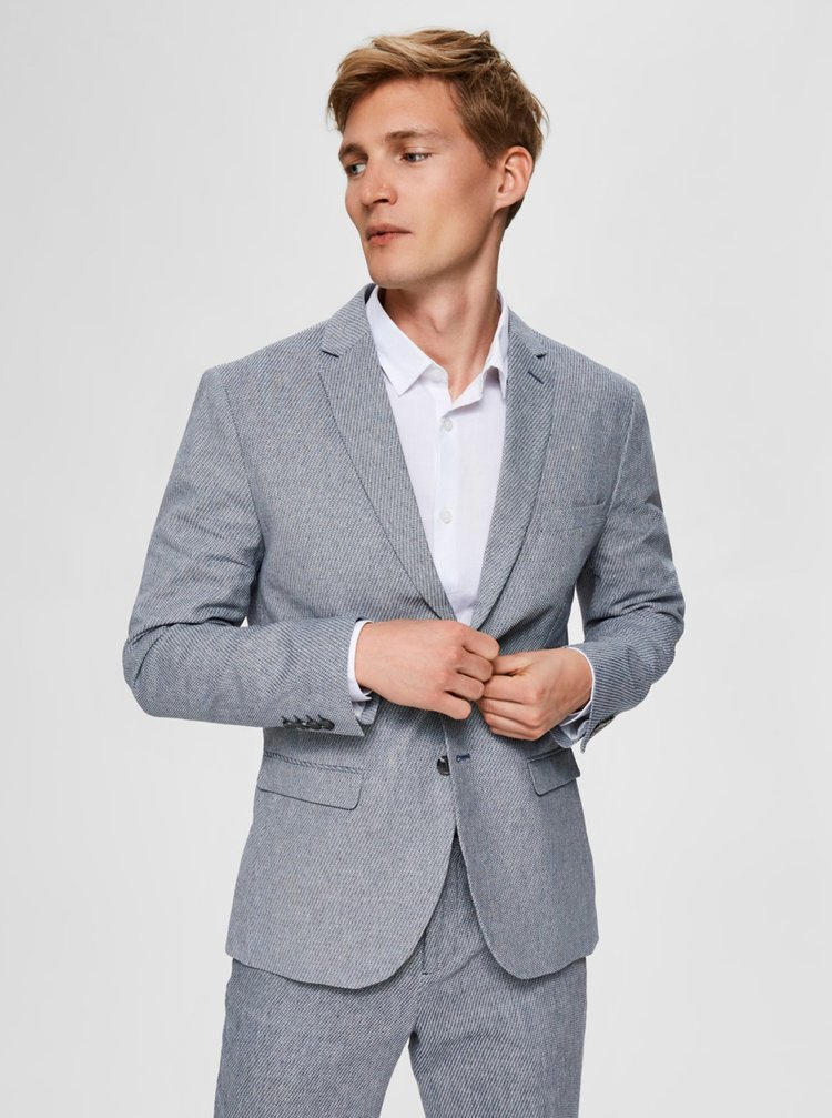 Světle modré slim fit sako Selected Homme Will