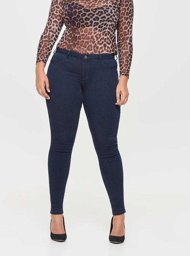 Tmavě modré push up skinny fit džíny ONLY CARMAKOMA Carthunder