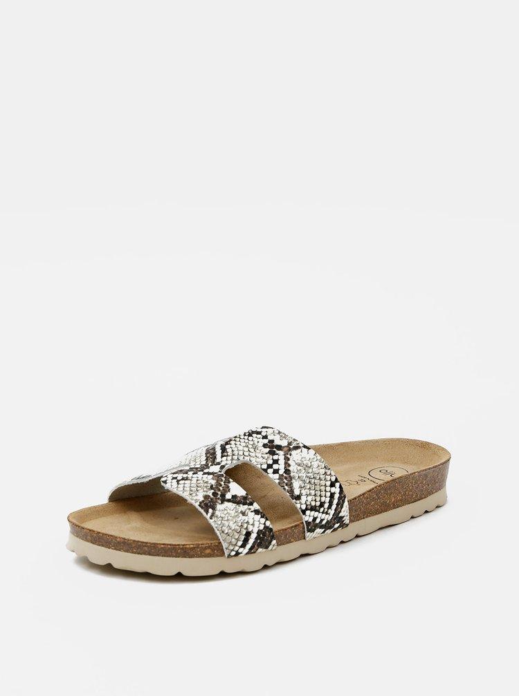 Béžové dámské pantofle s hadím vzorem OJJU