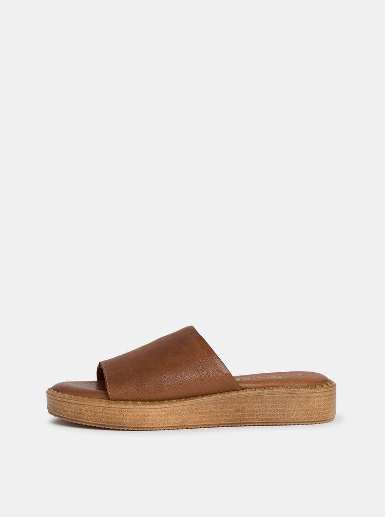 Hnědé dámské kožené pantofle Tamaris