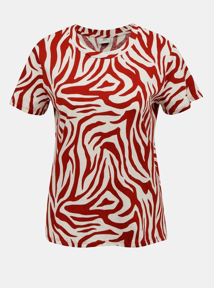 Krémovo-červené tričko se zebřím vzorem Jacqueline de Yong Diana
