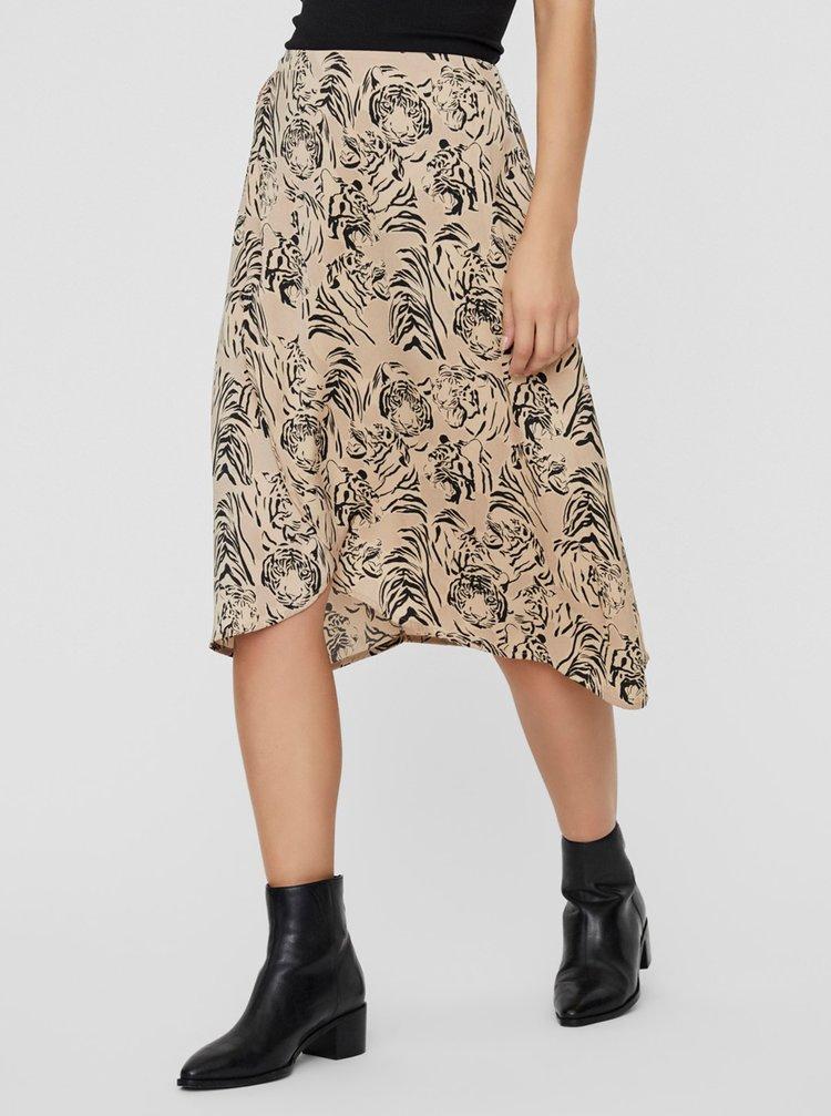 Béžová vzorovaná sukňa VERO MODA Kate