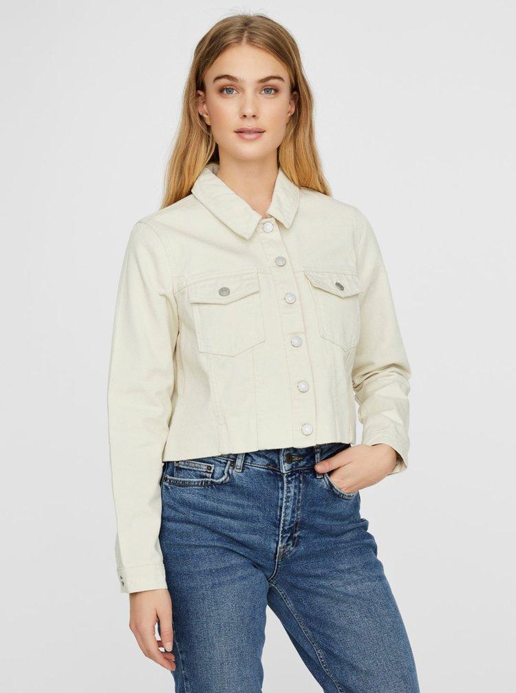 Krémová krátká džínová bunda VERO MODA Mikky