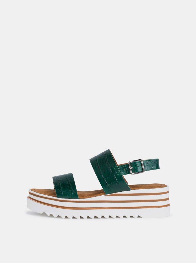 Zelené kožené sandály na platformě Tamaris