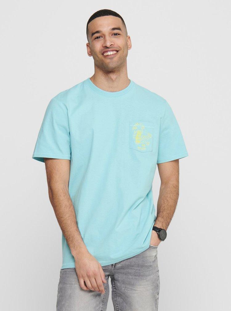 Tricouri pentru barbati ONLY & SONS - albastru