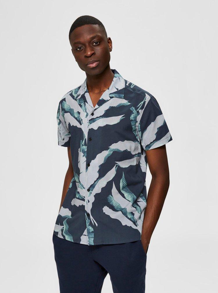 Tricouri cu maneca scurta pentru barbati Selected Homme - albastru inchis