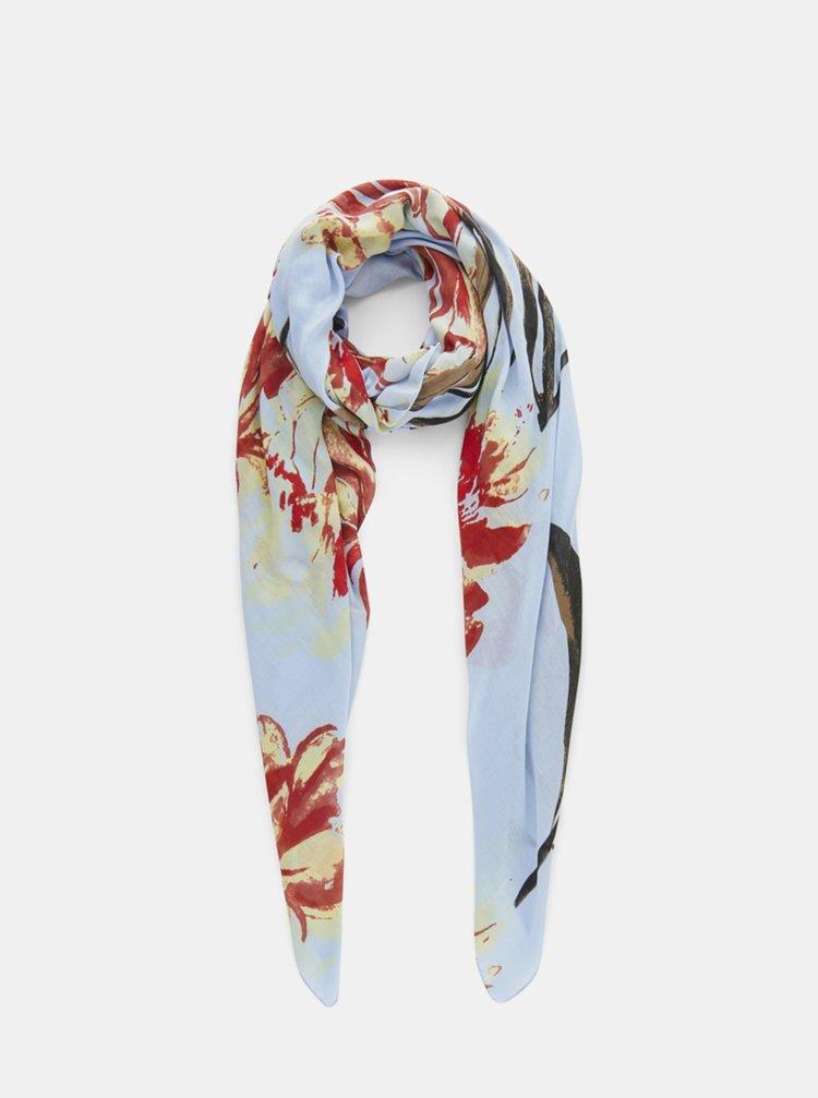 Světle modrý květovaný šátek Pieces April