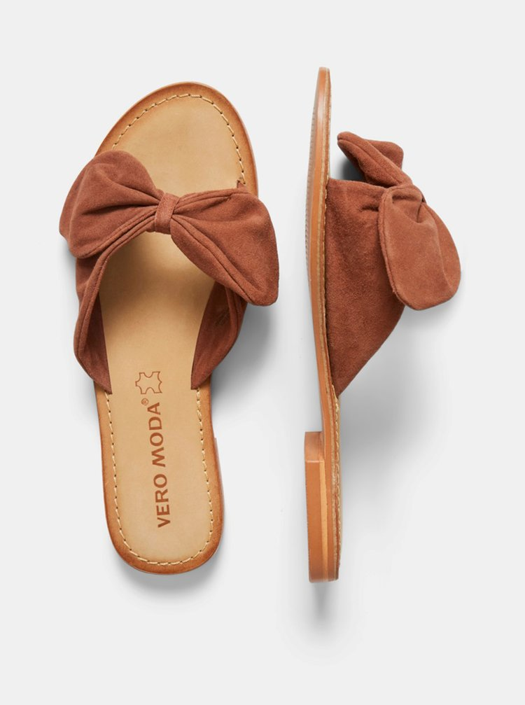 Hnědé semišové pantofle VERO MODA Melanie