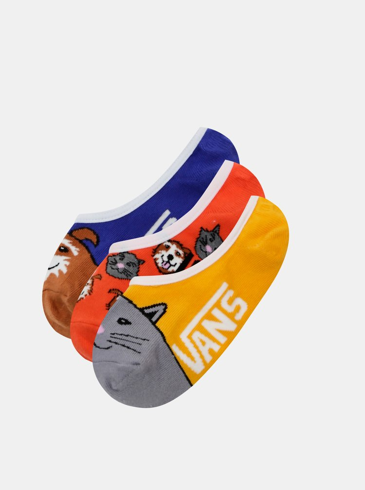 Sada třech párů dětských ponožek ve žluté a modré barvě VANS