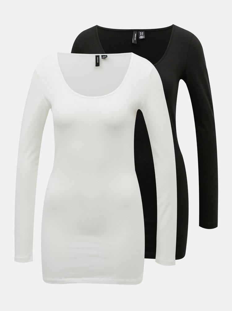 Sada dvou basic triček v bílé a černé barvě VERO MODA Maxi