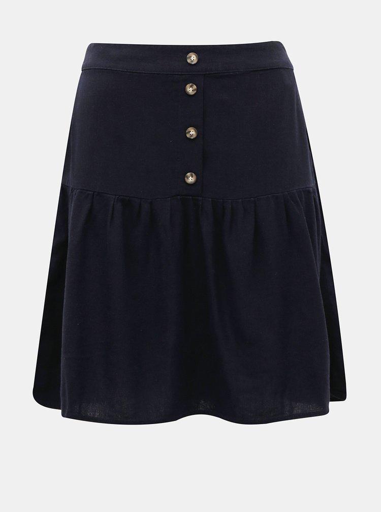 Tmavě modrá lněná sukně VERO MODA Helen