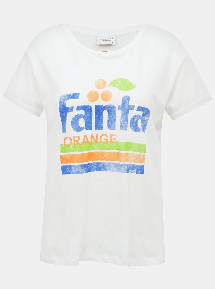 Bílé tričko s potiskem Jacqueline de Yong Fanta