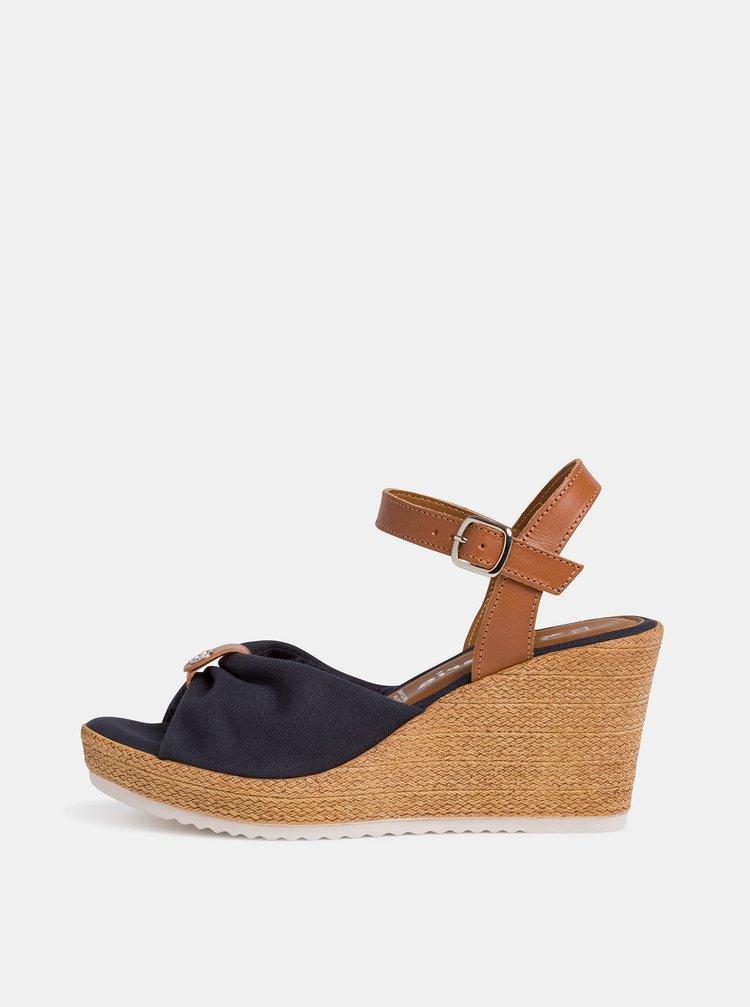 Tmavě modré sandálky na klínku Tamaris