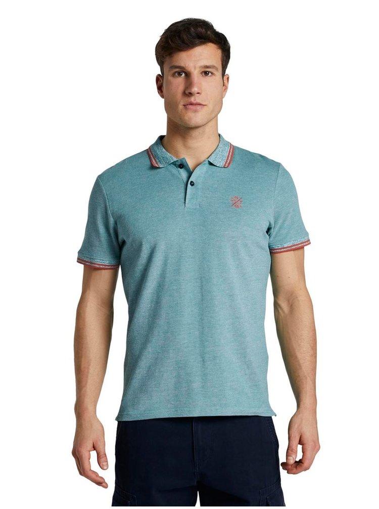 Zelenomodré pánské polo tričko Tom Tailor