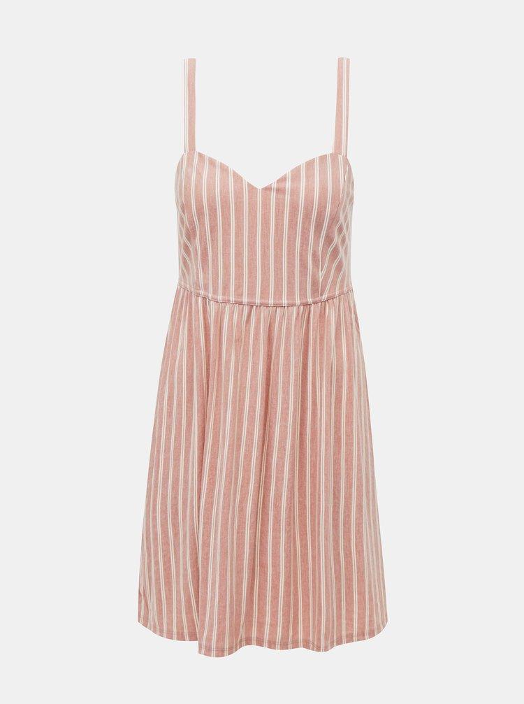 Starorůžové pruhované šaty ONLY Sharon