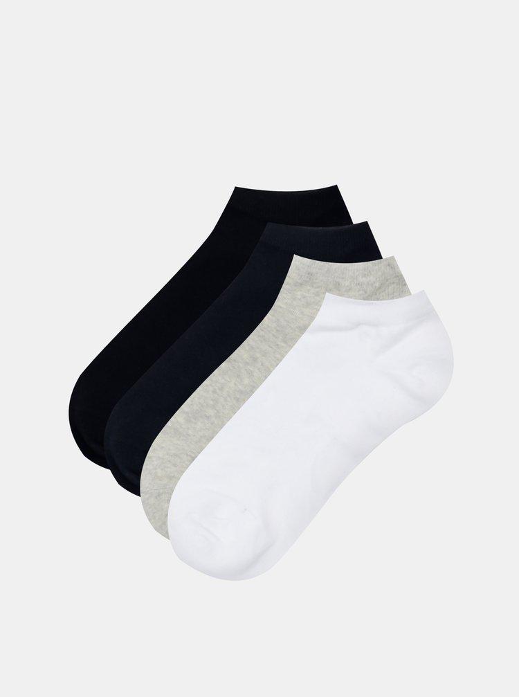 Sada čtyř párů ponožek v černé a šedé barvě Jack & Jones Solid