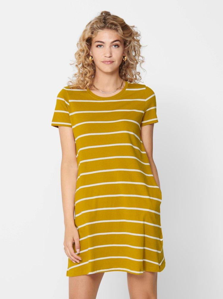 Hořčicové pruhované basic šaty ONLY May