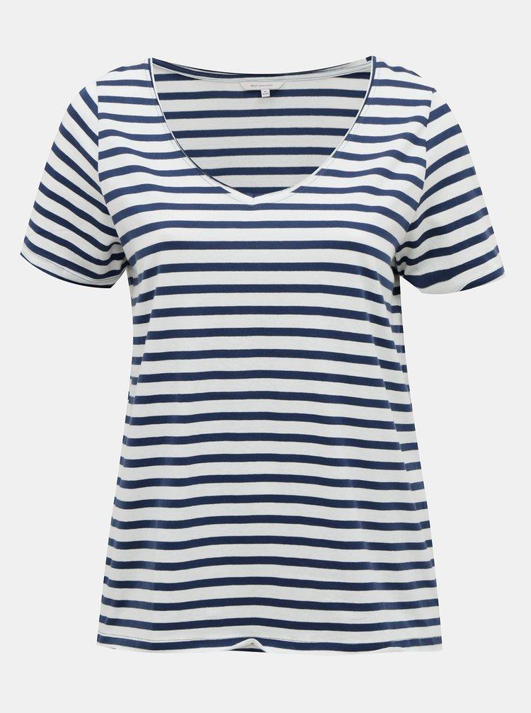 Bílo-modré pruhované basic tričko ONLY CARMAKOMA Life