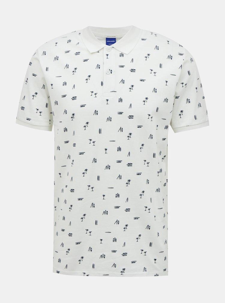 Bílé vzorované polo tričko Jack & Jones Pedro