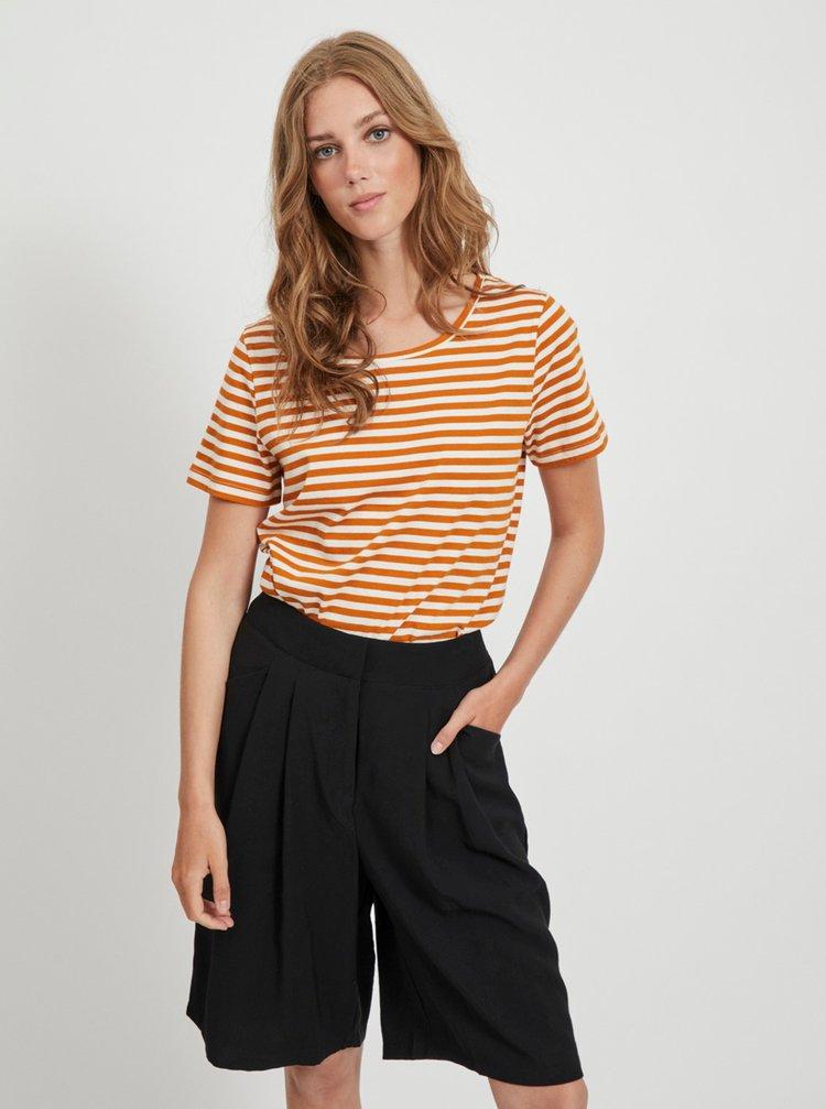 Krémovo-hnědé pruhované basic tričko VILA
