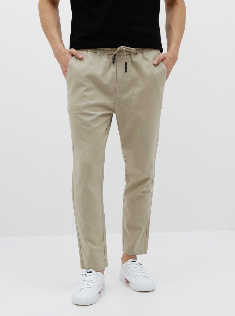 Béžové lněné kalhoty ONLY & SONS Linus
