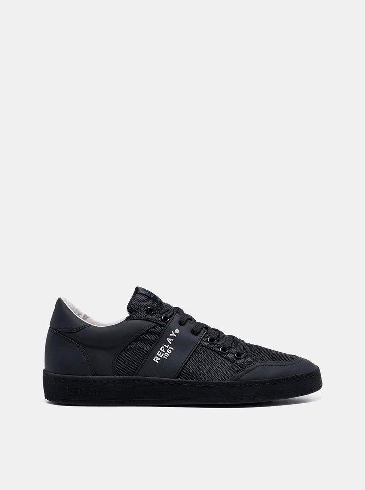 Čierne pánske tenisky s koženými detailmi Replay