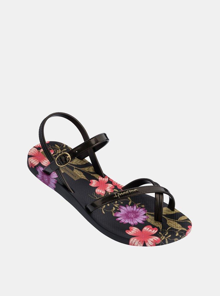 Černé dámské květované sandály Ipanema