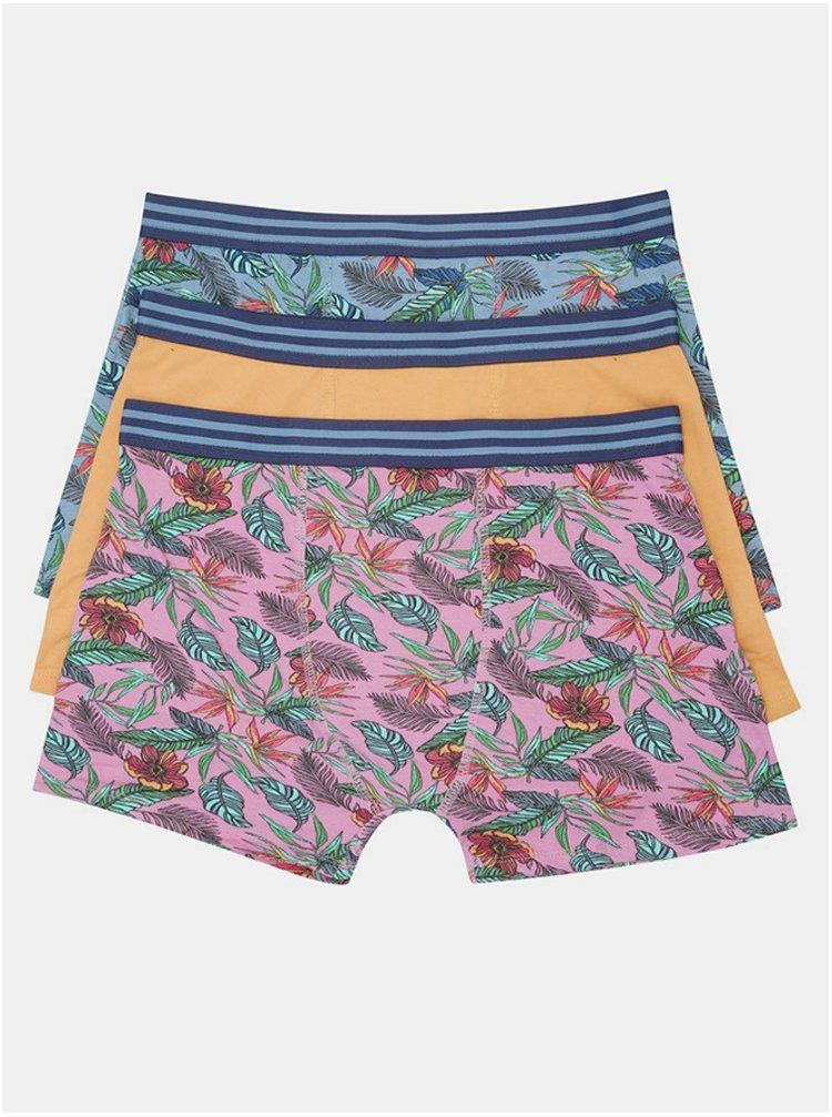 Sada tří vzorovaných boxerek v růžové a modré barvě M&Co