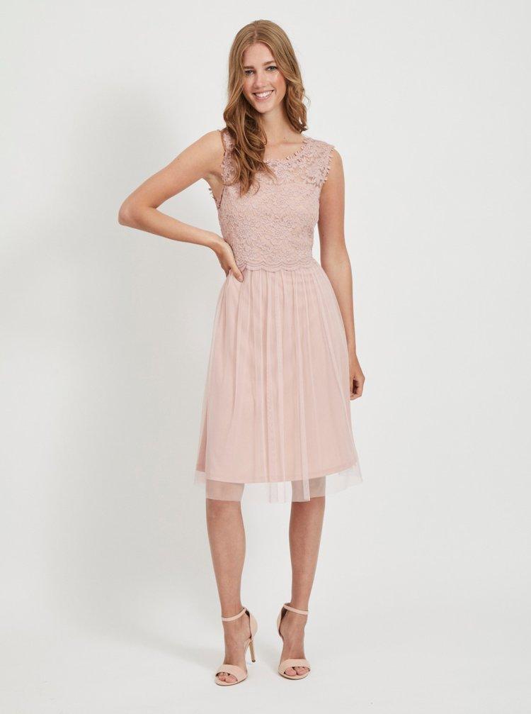 Růžové krajkové šaty VILA