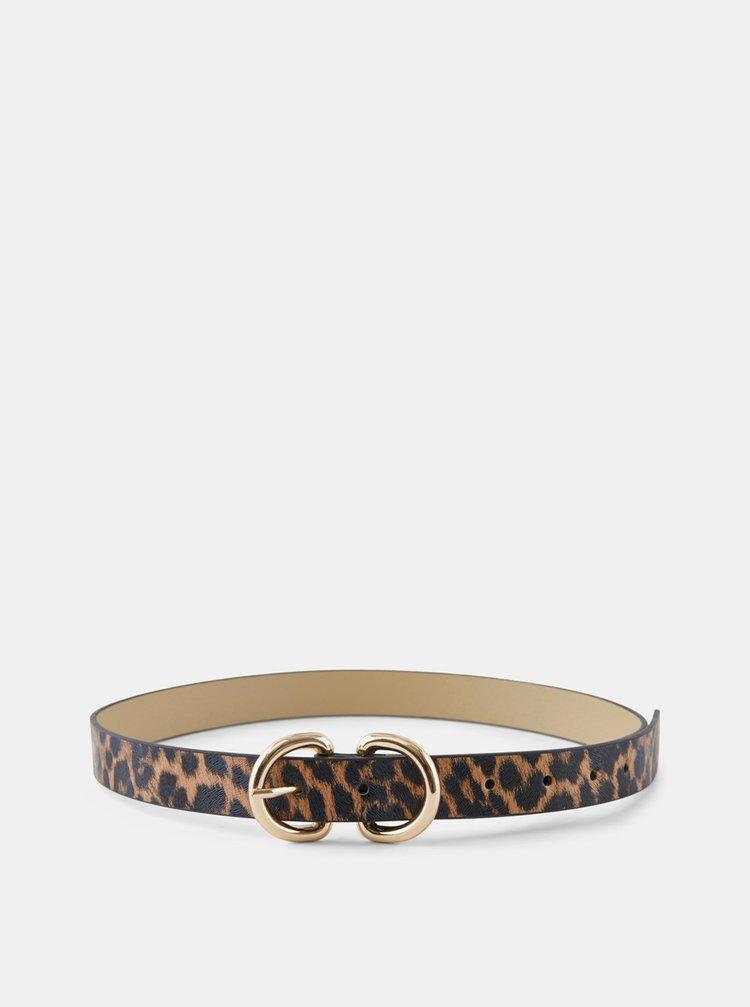 Černo-hnědý pásek s leopardím vzorem Pieces Masja