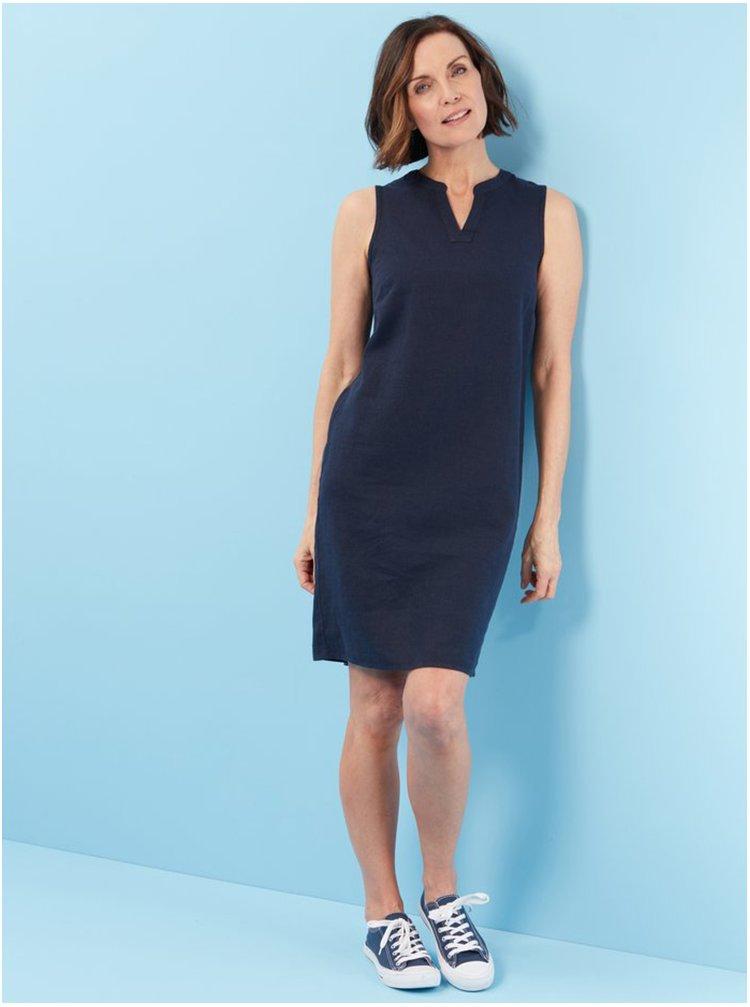 Tmavě modré lněné šaty M&Co