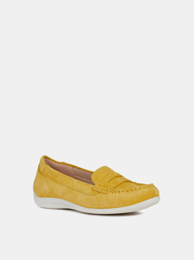 Žluté dámské semišové mokasíny Geox Yuki