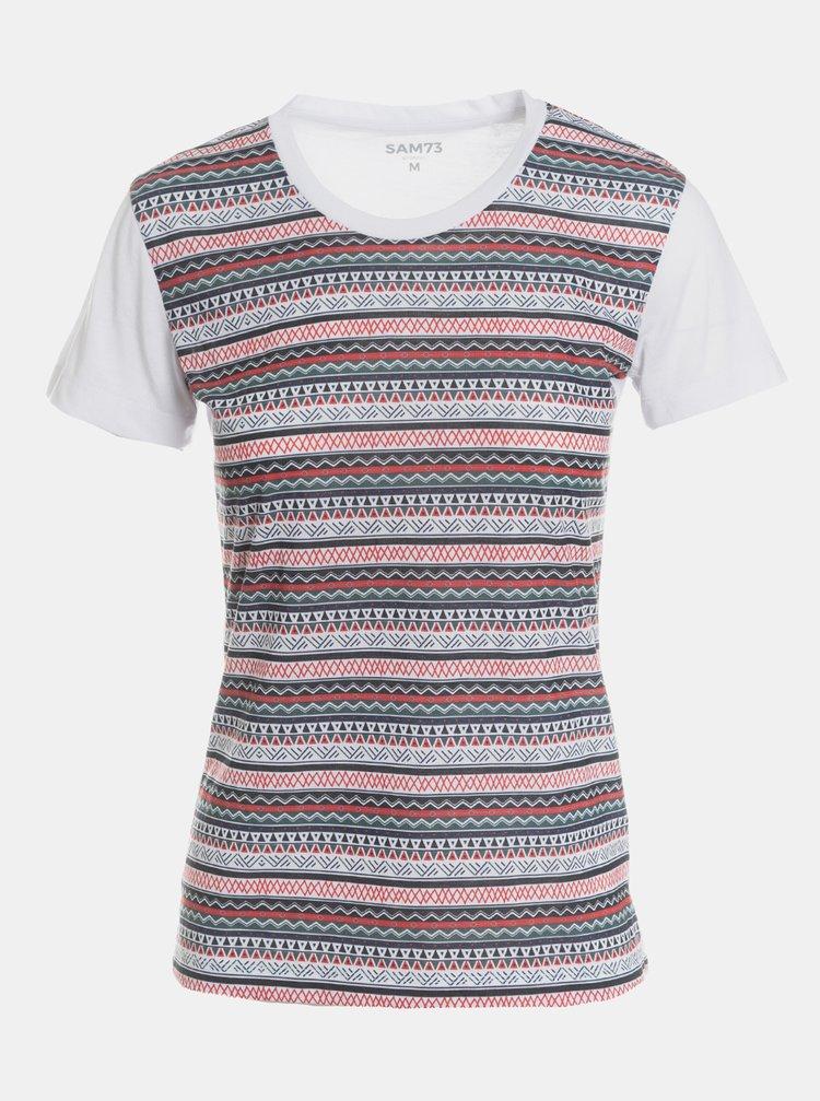 Šedo-bílé dámské vzorované tričko SAM 73