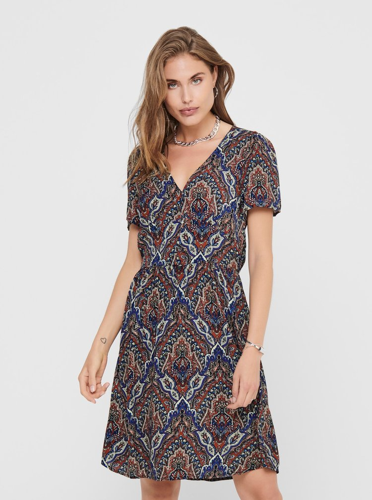 Tmavomodré vzorované šaty ONLY Vide