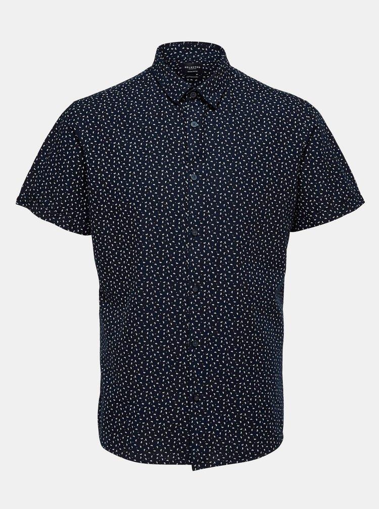 Tmavě modrá vzorovaná košile s příměsí lnu Selected Homme