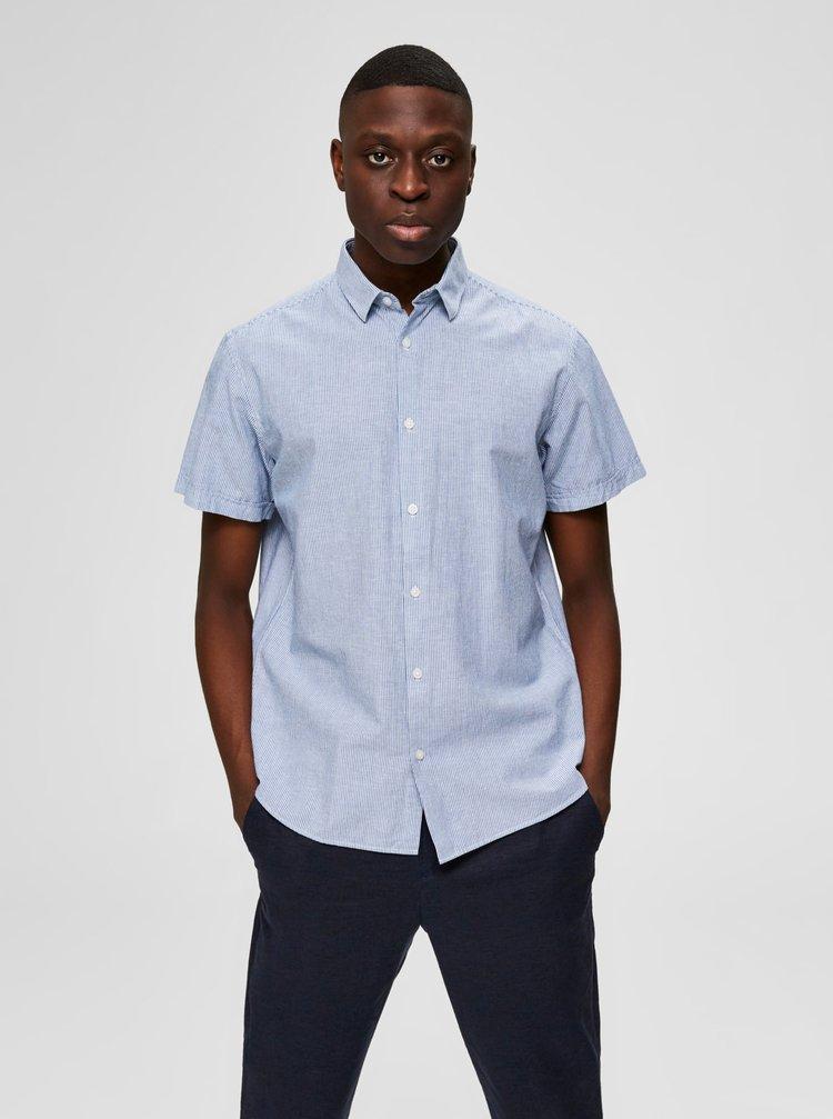 Světle modrá košile s příměsí lnu Selected Homme