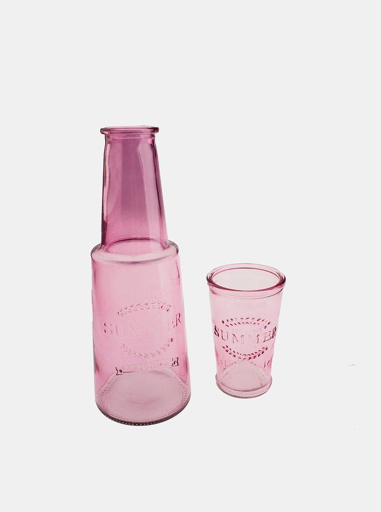 Ružová sklenená karafa s pohárom Dakls
