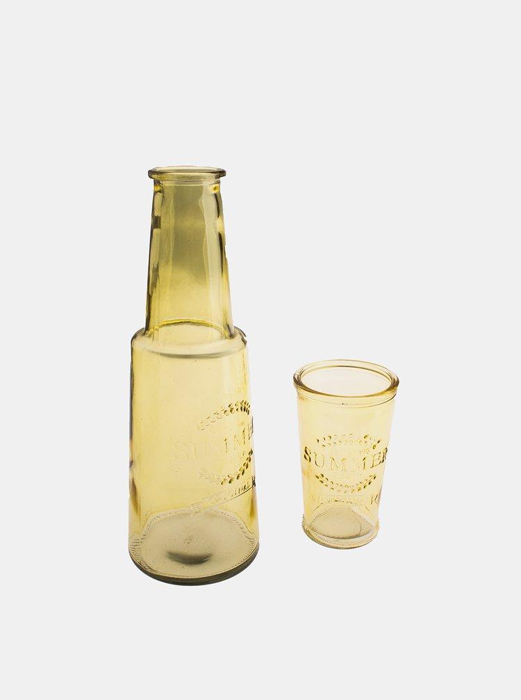 Žlutá skleněná karafa se skleničkou Dakls